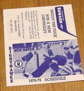 AHL pocket schedules new haven nighthawks 1978-79