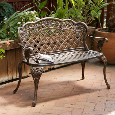 Outdoor Patio Furniture Floral Design Antique Copper Cast Aluminum Garden Bench