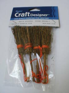 Wholesale lot 48 miniature round pine 3 034 brooms wicca for Straw brooms for crafts