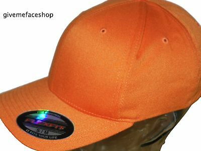 Flexfit Plain Fitted Cap Hat, Orange Fitted Cap Hip Hop