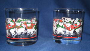 Polar-Bear-Princess-House-Glasses-2-Crystal-Cups-Ice-Skating-Rare-retired
