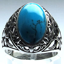 925 SILBER *** Türkis College Ring, Antik-Stil