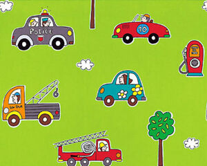 COTTON-CLOTHWORK-BEDDING-FABRIC-CUTE-CARS-VINTAGE-PLAID