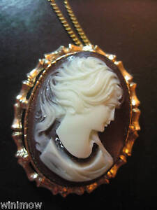 Vintage-Beautiful-Brown-Lady-Head-Cameo-Necklace