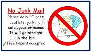 No Junk Mail leaflets menus door sign  stop the waste - <span itemprop=availableAtOrFrom>Wellingborough, Northamptonshire, United Kingdom</span> - No Junk Mail leaflets menus door sign  stop the waste - Wellingborough, Northamptonshire, United Kingdom