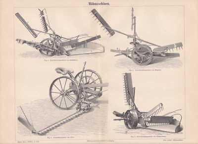 MÄHMASCHINEN Mähbalken Balkenmäher Holzstich von 1889