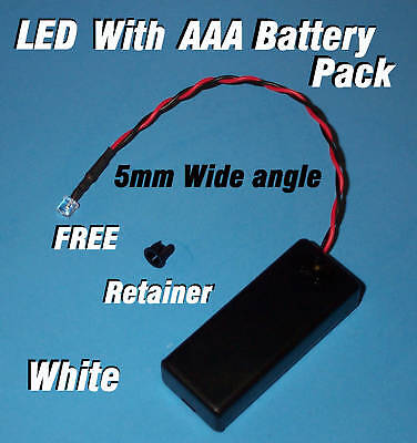 5mm LED + AAA BATTERY PACK & SWITCH WHITE WIDE ANGLE(Halloween / Projects / DIY) (Halloween Diy Projects)