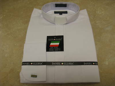 New-Mens-Clergy-Preacher-Pastor-Tab-Collar-Long-Sleeves-French-Cuff-Dress-Shirt