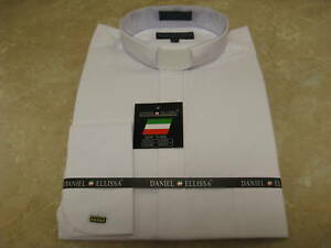 NWT-CLERGY-DRESS-SHIRT-TAB-COLLAR-FRENCH-CUFF-BLACK-WHT
