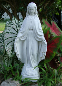 17 Blessed Virgin Mary Holy Mother Madonna White Concrete Cement Garden Statue Ebay
