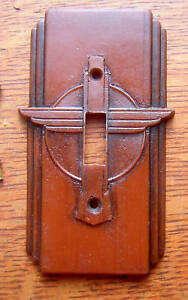 New-034-Thunderbird-034-Art-Deco-Toggle-Switch-Plate-c1930
