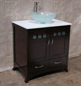 Quartz Vessel Sink : ... Bathroom Vanity Cabinet White Tech Stone Quartz Vessel Sink TR5 eBay