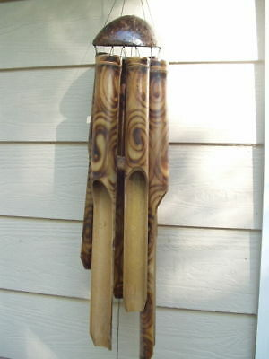 Bamboo Wind Chimes Fireburnt Swirl Half Coco Top Large Tubes FREE SHIP