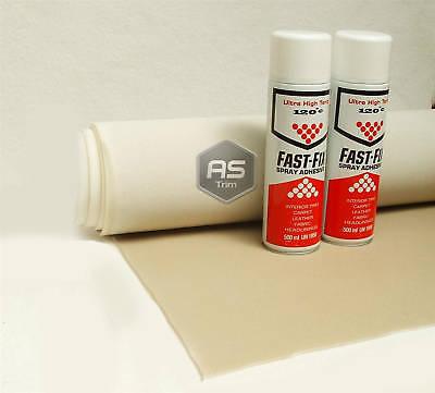 3m Headlining Kit Mushroom Brushed Nylon Foam Backed + 2 Hi Temp Spray Glue