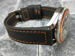 NEW-22mm-Black-Rubber-Diver-Strap-Watch-Band-Maratac-Fit-OMEGA-SeaMaster-Orange