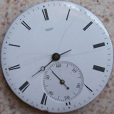 Bergeon Geneve Old Pocket watch movement & enamel dial Key Wind 39 mm.