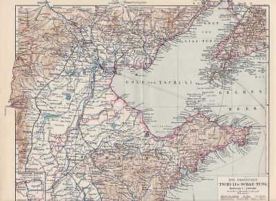 TSCHI-LI SCHAN-TUNG China Deutsche Kolonien LANDKARTE um 1905
