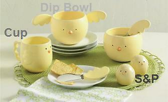 451171 RETIRED TAG Easter Spring Yellow Chick Dip Bowl and Spreader Set Party