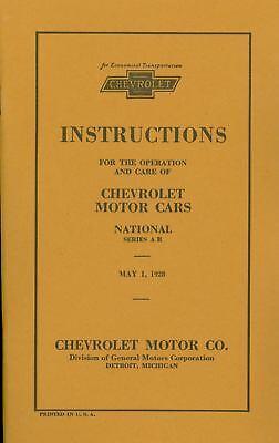 1928 Chevrolet Passenger Car Owners Manual