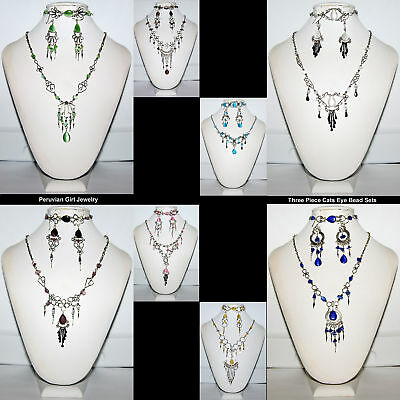 10 BEAD SETS CATS EYE PERUVIAN NECKLACES EARRINGS BRACELETS JEWELRY LOT PERU