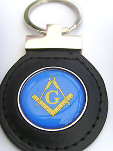 FREEMASONRY-MASONIC-COMPASSES-LEATHER-KEYFOB-FOB-GIFT
