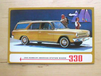 1964 RAMBLER AMERICAN Wagon 330 Post Card PostCard