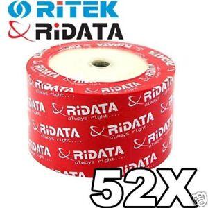 200-Ridata-Ritek-CD-R-52X-Inject-White-Hub-Printable