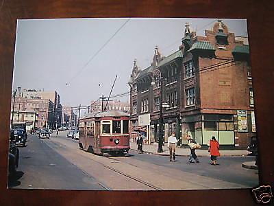 GREAT 1947 Rogers Ave Flatbush trolley streetcar Brooklyn New York NYC Post Card