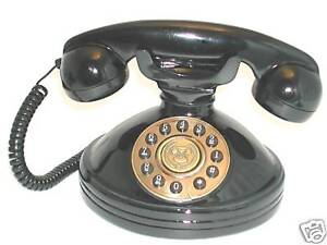 Old Fashioned Phone with Push Button Dial - Retro Telephone in Black SNW30PB