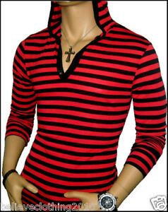 OLDIES-RED-BLACK-LONG-SLEEVE-HOODED-BUTTON-NECK-SHIRT