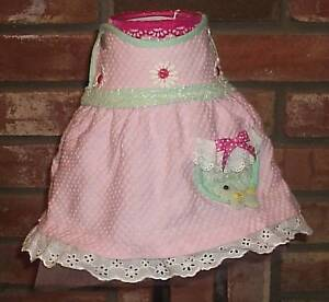 Handcrafted baby girl nursery lampshade decorated with infant dress pink & green
