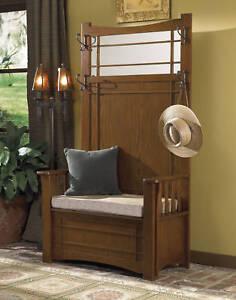 Powell-Mission-Oak-Wood-Hall-Tree-Storage-Bench-993-259