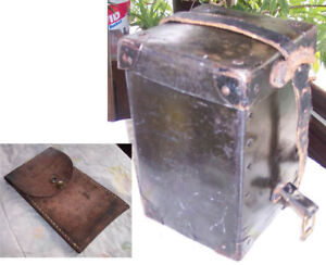 WESTERN-ELECTRIC-LEATHER-CASE-WITH-LID-amp-LEATHER-POUCH