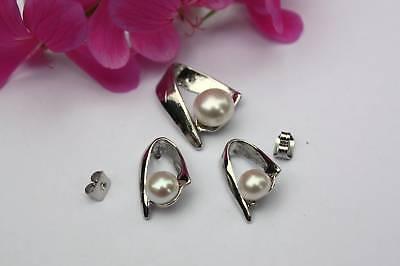 P5 Süßwasser Perlen Schmuck Set Ohrringe Anhänger Kette