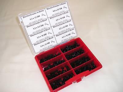 Blechschrauben mit Bund schwarz im Sortiment 121 Stk  Spoilerschrauben Set
