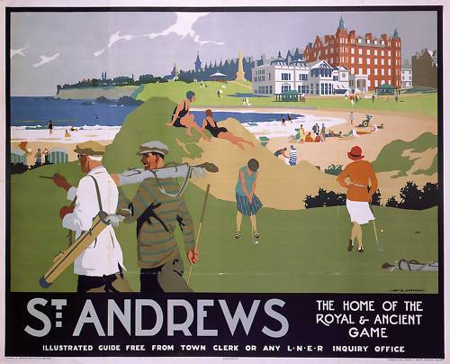 GOLF-POSTER-ART-ST-ANDREWS-OPEN-2015-VENUE-1930S-RAILWAY-806MM-X-635MM