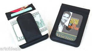 New-Leather-Money-Clip-Slim-Wallet-Card-Case-ID-Black