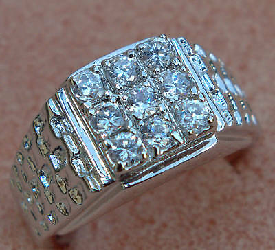 Alaskan Style 9 Cz 3 Carat Nugget Mens Ring 18k White Gold Overlay Size 10
