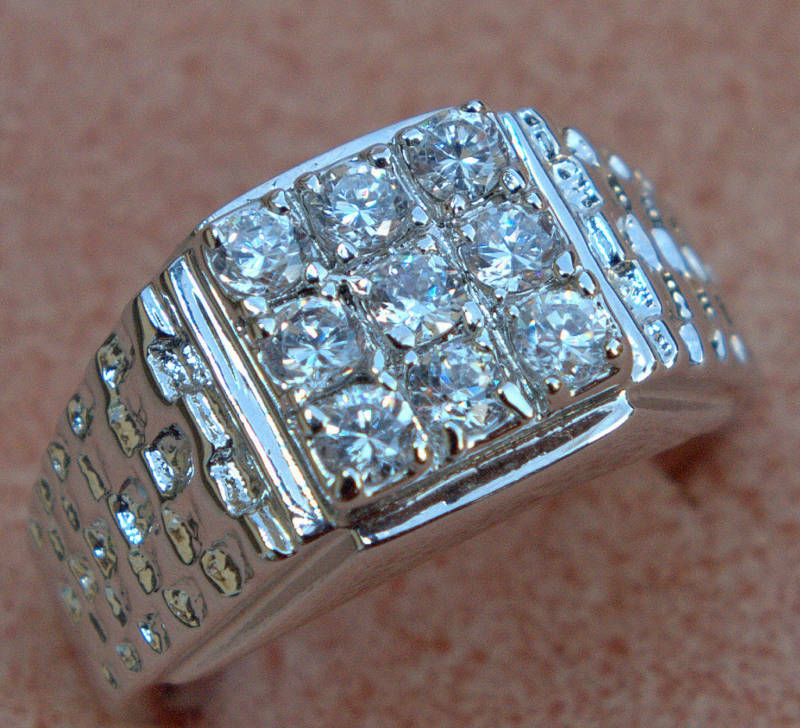 Alaskan Style 9 Cz 3 Carat Nugget Mens Ring 18k White Gold Overlay Size 12