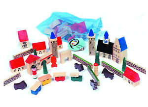 NEW-TOY-MODEL-VILLAGE-IN-A-BAG-50-WOODEN-WOOD-PIECES