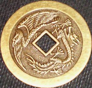 LUCKY-DRAGON-PHOENIX-CASINO-POKER-CARD-GUARD-COVER-CHINESE-COIN-FENG-SHUI