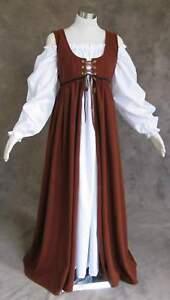 Renaissance Ren Faire Medieval Gown Dress and Chemise SCA LOTR Costume BROWN 2X
