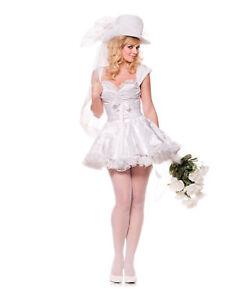Merry Bride Wedding Dress Sexy Vegas Halloween Costume Womens Adult Large