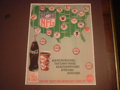 Repro Coca Cola Coke NFL Bottle Cap Advertisement Print