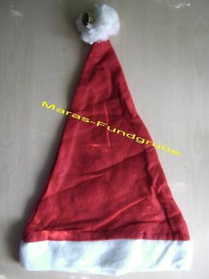 12 x Weihnachtsmütze mit Bommel und Glöckchen - Nikolausmütze - Rot/Weiss - NEU