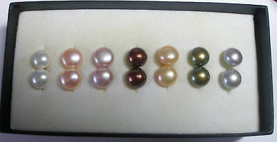Sterling Silver Multi-color Freshwater Pearls Earrings (set Of 7)