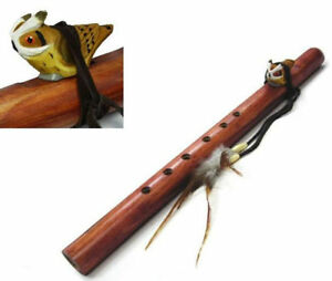 CARVED-WOODEN-OWL-ON-LG-WOOD-FLUTE-wild-animal-totem-wood-hand-crafted-music-new