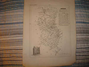 1835 RHONE LYON VILLEFRANCHE FRANCE ANTIQUE MAP NR