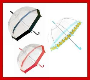 Clear-Pvc-Dome-Umbrella-Black-Red-Pink-or-Ducks-Trim