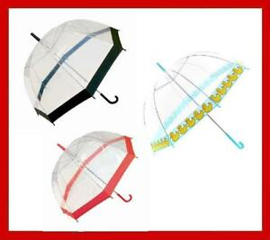 Clear-Pvc-Dome-Umbrella-Black-Red-Pink-or-Ducks-Trim